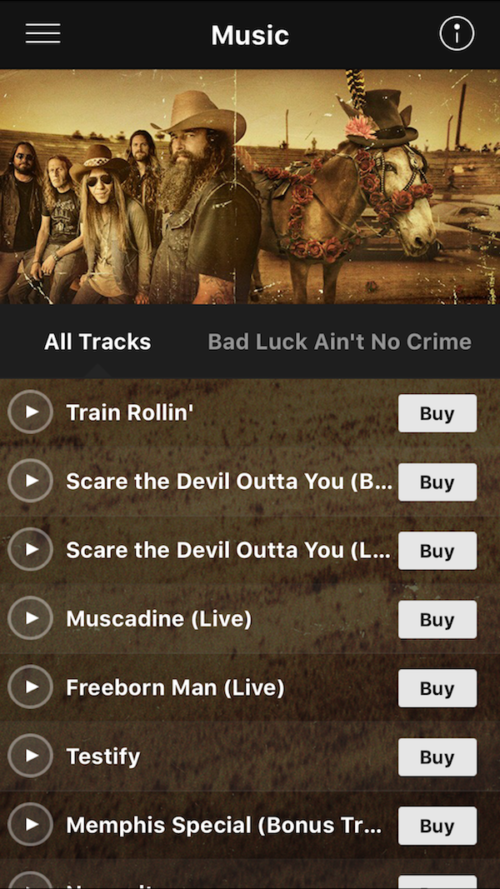 music interface for blackberry smoke mobile application