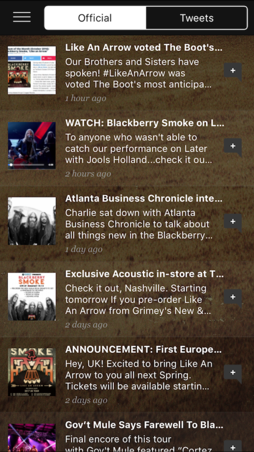 news features for blackberry smoke mobile app